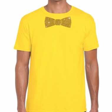Goedkope vlinderdas t shirt geel met glitter das heren