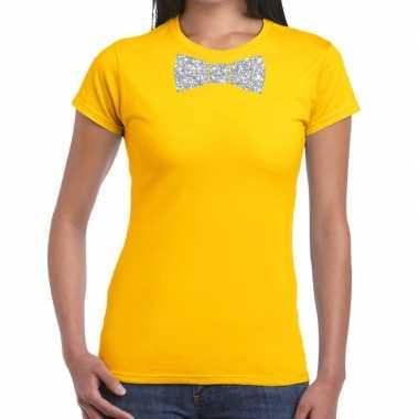 Goedkope vlinderdas t shirt geel met zilveren glitter strikje dames