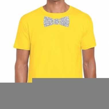 Goedkope vlinderdas t shirt geel met zilveren glitter strikje heren