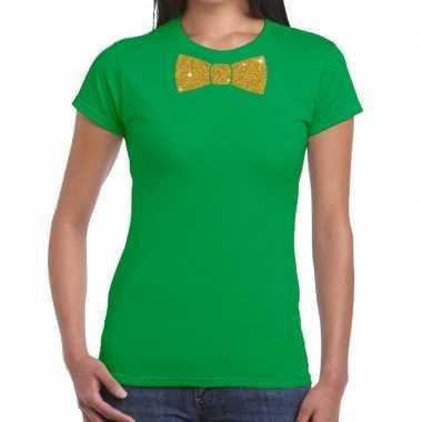 Goedkope vlinderdas t shirt groen met glitter das dames
