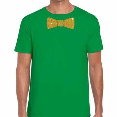 Goedkope vlinderdas t shirt groen met glitter das heren