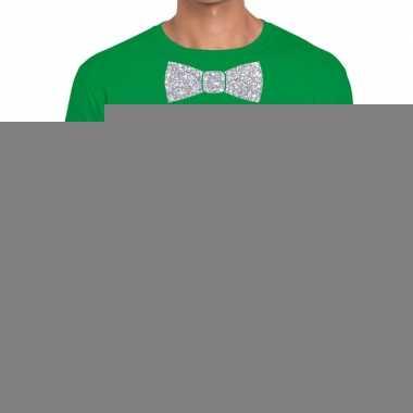 Goedkope vlinderdas t shirt groen met zilveren glitter strik heren