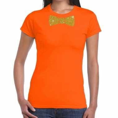 Goedkope vlinderdas t shirt oranje met glitter das dames