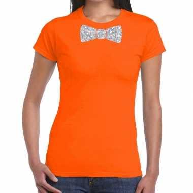 Goedkope vlinderdas t shirt oranje met zilveren glitter strikje dames