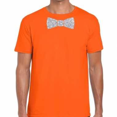 Goedkope vlinderdas t shirt oranje met zilveren glitter strikje heren