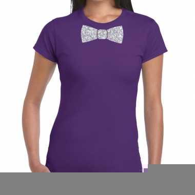 Goedkope vlinderdas t shirt paars met zilveren glitter strikje dames