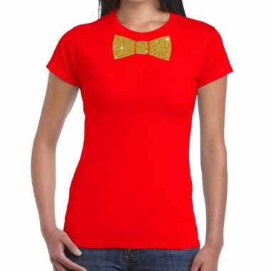 Goedkope vlinderdas t shirt rood met glitter das dames