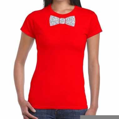 Goedkope vlinderdas t shirt rood met zilveren glitter strikje dames
