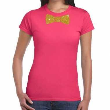 Goedkope vlinderdas t shirt roze met glitter das dames