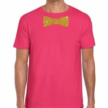 Goedkope vlinderdas t shirt roze met glitter das heren