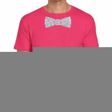 Goedkope vlinderdas t shirt roze met zilveren glitter strikje heren