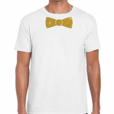 Goedkope vlinderdas t shirt wit met glitter das heren