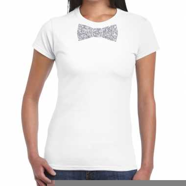 Goedkope vlinderdas t shirt wit met zilveren glitter strikje dames