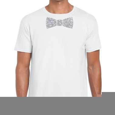 Goedkope vlinderdas t shirt wit met zilveren glitter strikje heren