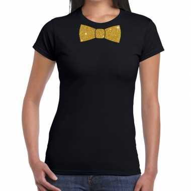 Goedkope vlinderdas t shirt zwart met glitter das dames