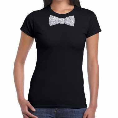 Goedkope vlinderdas t shirt zwart met zilveren glitter strikje dames