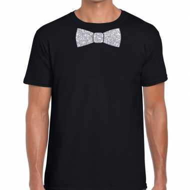 Goedkope vlinderdas t shirt zwart met zilveren glitter strikje heren