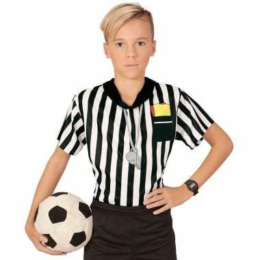 Goedkope voetbal scheidsrechter jongens shirt met opdruk