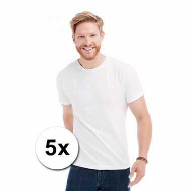Goedkope voordelige witte t-shirts 5 stuks