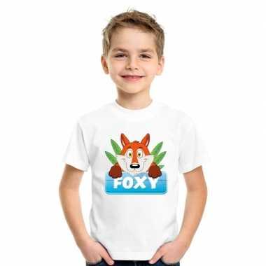 Goedkope vossen dieren t shirt wit voor kinderen