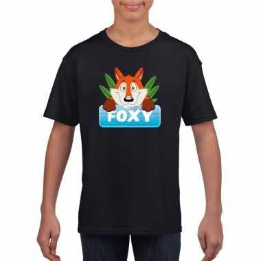 Goedkope vossen dieren t shirt zwart voor kinderen