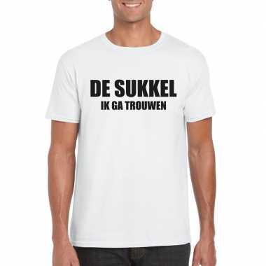 Goedkope vrijgezellen t shirt bruidegom/ de sukkel wit heren