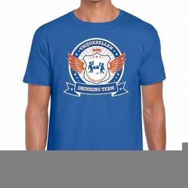 Goedkope vrijgezellenfeest blauw oranje drinking team t shirt blauw h