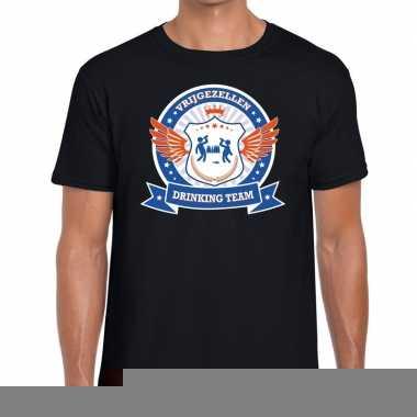 Goedkope vrijgezellenfeest blauw oranje drinking team t shirt zwart h