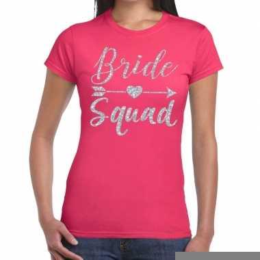 Goedkope vrijgezellenfeest bride squad zilveren letters t shirt roze