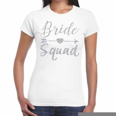 Goedkope vrijgezellenfeest bride squad zilveren letters t shirt wit v