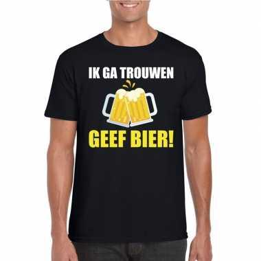 Goedkope vrijgezellenfeest bruidegom t shirt zwart met bier heren