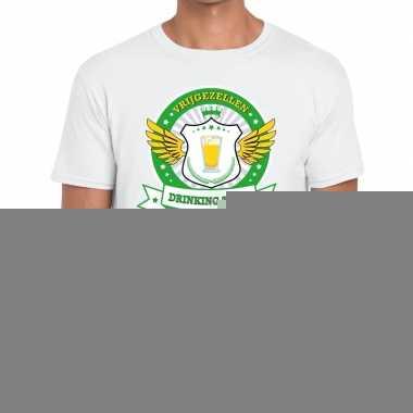 Goedkope vrijgezellenfeest groen geel drinking team t shirt wit heren