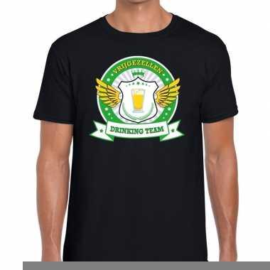 Goedkope vrijgezellenfeest groen geel drinking team t shirt zwart her
