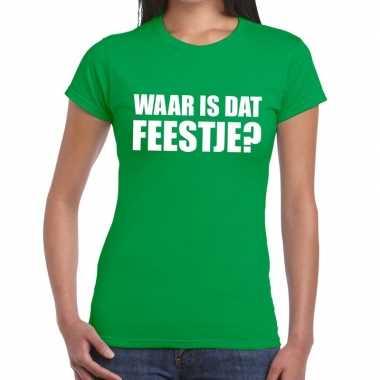 Goedkope waar is dat feestje fun t shirt voor dames groen