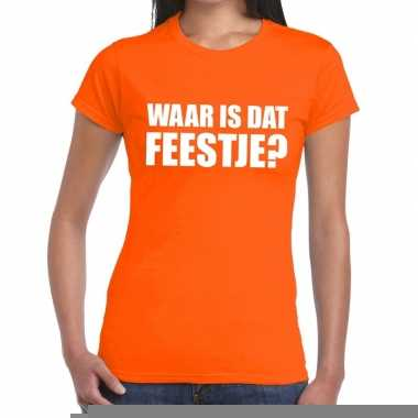 Goedkope waar is dat feestje fun t shirt voor dames oranje