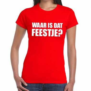 Goedkope waar is dat feestje fun t shirt voor dames rood