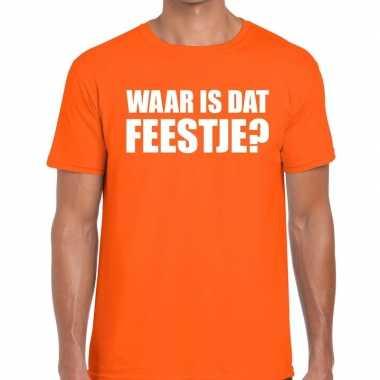Goedkope waar is dat feestje fun t shirt voor heren oranje