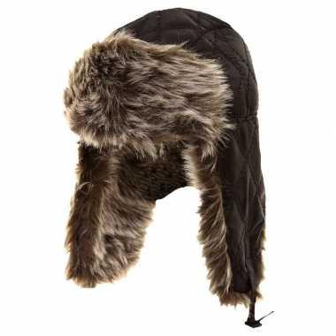 Goedkope warme bontmuts navy met pluche/bont en oorflappen voor jonge