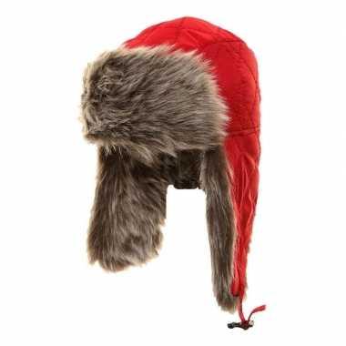 Goedkope warme bontmuts rood met pluche/bont en oorflappen voor meisj