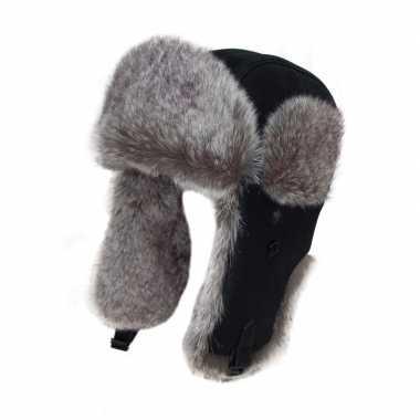 Goedkope warme bontmuts zwart met bont en oorflappen voor dames/heren