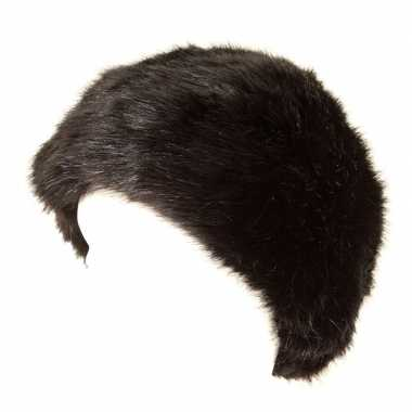 Goedkope warme bontmuts zwart voor volwassenen
