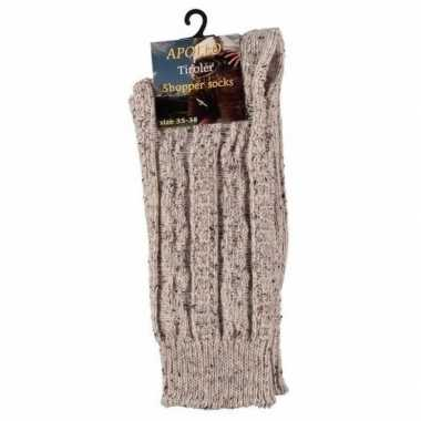 Goedkope warme gebreide sokken beige maat 43/46 voor heren