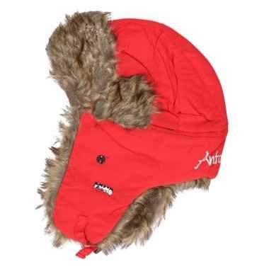 Goedkope warme winter bontmuts rood met pluche/bont en oorflappen/fla