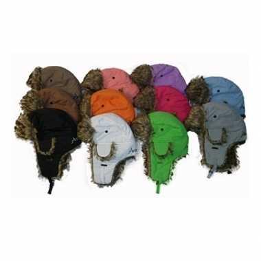 Goedkope warme winter bontmuts wit met pluche/bont en oorflappen/flap