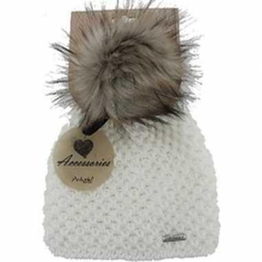 Goedkope warme winter muts wit gebreid met bonten pompon/pluim voor d