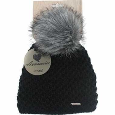 Goedkope warme winter muts zwart gebreid met bonten pompon/pluim voor