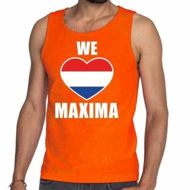 Goedkope we love maxima tanktop/mouwloos shirt oranje heren