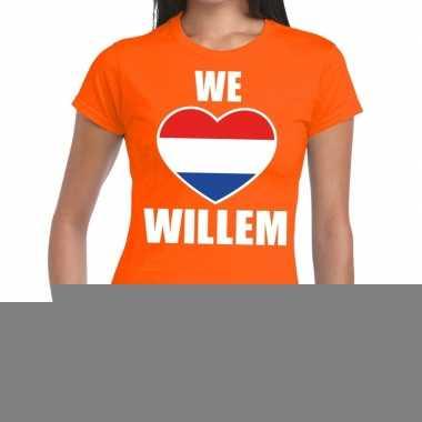 Goedkope we love willem shirt oranje dames