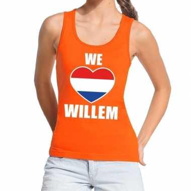 Goedkope we love willem topje/shirt oranje dames