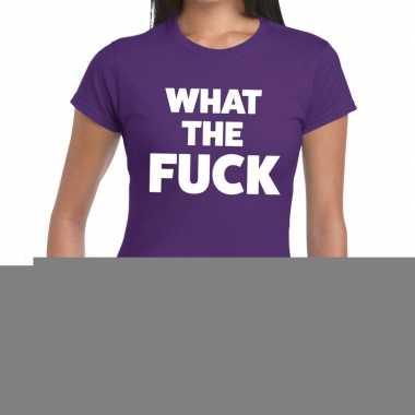 Goedkope what the fuck fun t shirt paars voor dames